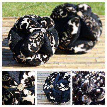 Sacred Geometry Energy Ball Pillow – 10″ Black / Creme